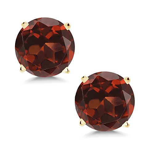 Gem Stone King 14K Yellow Gold Natural Genuine Red Garnet Stud Earrings, 2.00 Cttw Gemstone Birthstone 6MM