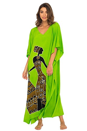 Back From Bali Womens Beach Swimsuit Cover up Caftan Poncho Long Africa Woman Pot Lime by Back From Bali