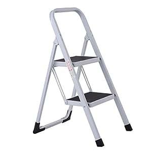 Giantex 2 Step Ladder Folding Steel Work Platform Stool 330Lbs Load Capacity Heavy Duty (2 Step)