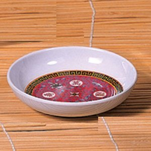 Thunder Group Peacock Collection 12-Pack 3-Ounce Sauce Dish, 3-7/8-Inch, Melamine, Red
