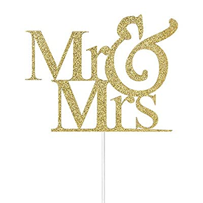 Mr Mrs Cake Topper From Miss to Mrs Bride to Be Engagement Wedding Anniversary Party Decorations Gold Glitter