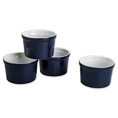 BIA Cordon Bleu (Set of 4) - 12 oz. Porcelain Ramekins Bowls 12 ounce (Blue)