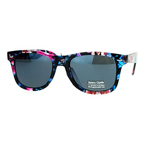 (Floral Flower Print Sunglasses Classic Designer Fashion Square Frame Blue)