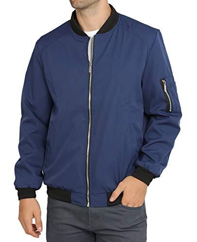 WULFUL Mens Lightweight Softshell Flight Bomber Jacket Coat Navy ()