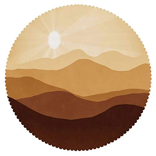iPrint American Round Tablecloth [ Tan,Sunrise Over The Mountains Conceptual Landscape Hills Rays Scenery,Brown Light Brown Sand Brown ] Fabric Home Tablecloth Ideas