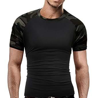 OverDose Camiseta para Hombre Camuflaje Militar O-Cuello de Manga Corta Camiseta (M, Camuflaje A)