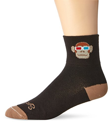 SockGuy Men's Monkey See 3D Socks, Black,L/XL -