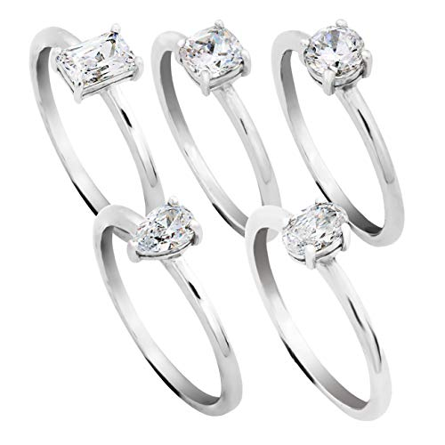 PAZ Creations .925 Sterling Silver Cubic Zirconia 5 Stack Ring Set (6)
