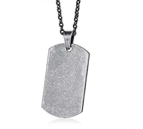 XUANPAI Free Engraving Stainless Steel Military Army Style Plain Dog Tag Pendant Necklace,Free Chain (Plain Dog Tag Necklace)