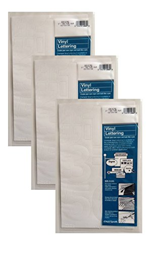 Chartpak 3-inch White Stick-on Vinyl Numbers (01176), 3 PACKS by Chartpak