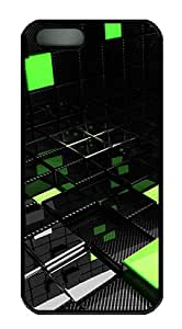 Black and Green Cubes Polycarbonate Custom iPhone 5S/5 Case Cover - Black
