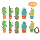 SBYURE 40 Pieces Cactus Mini Wooden Clip with Rope