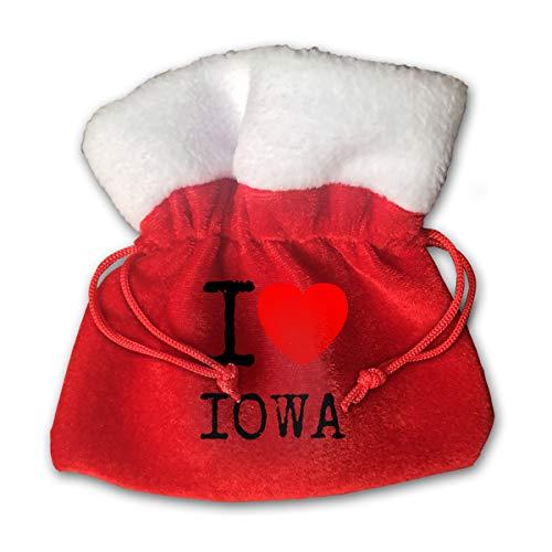 NRIEG I Love Iowa Christmas Candy Bags Santa Claus Gift Treat Sacks with Drawstring Xmas Stocking Ornaments Decor Handbag