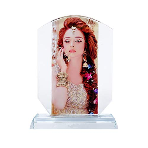 (P&L ART. Crystal Print with Your Photo, Office Desktop Decor Personalized Picture Gift On Glass Clear Frame with Stand, Trophy Shape 6.2x7.8 Inch)