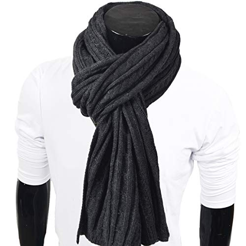 Mens Thick Knitted Plaid Long Winter Scarf Shawl E5031 - Acrylic Knitted Scarf