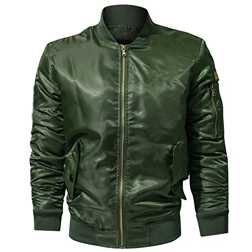 (iYYVV Mens Casual Autumn Winter Pure Color Stand Collar Military Bomber Jacket Coat)