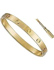 HiCook Titanium Steel Bangle Bracelets for Women Bangle Bracelet Set in Heart and CZ Stone Jewelry Fits 6.5-7.5 Inch Wrists