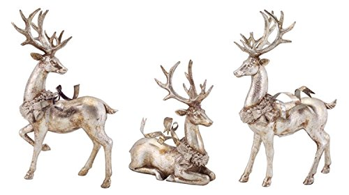 Set of 3 Distressed Silver Reindeer with Wreath Table Top Christmas Decorations 9
