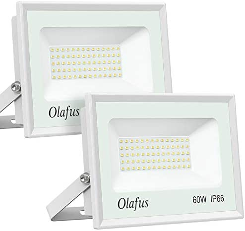 Olafus 2 Pack 60W LED Flood Light Outdoor, 6600LM Outside Security Lights, IP66 Waterproof Exterior Floodlights, 5000K Daylight White Lighting for Yard Garden Playground, 300W Equivalent Ultra Bright