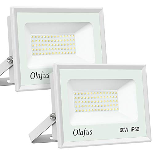 Olafus 2 Pack 60W LED Flood Light Outdoor, 6600LM Ultra Bright Floodlights, 300W Equivalent, IP66 Waterproof Exterior Security Lights, 5000K Daylight White Lighting for Backyard, Garden, Playground