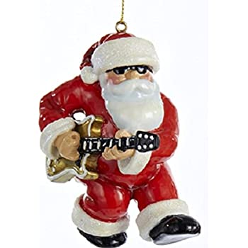 ksa 35 red white and gold rock n roll santa claus christmas ornament