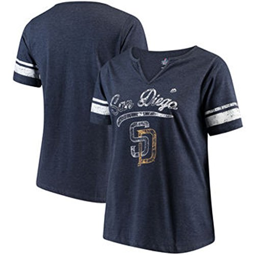 San Diego Padres MLB Womens Her Notch Neck Shirt Navy Blue Heather Plus Sizes – DiZiSports Store