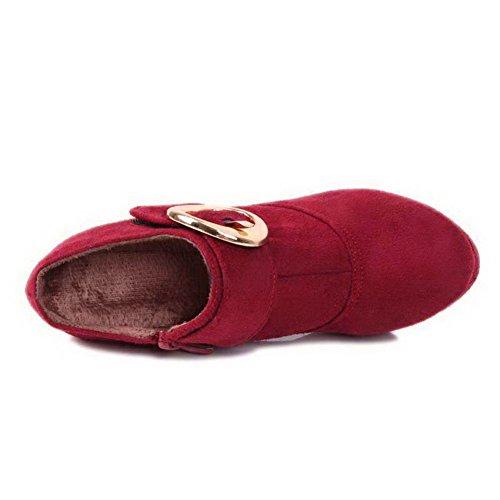 Balamasa Round Heels Zipper Womens Pumps Solid High Red Toe Shoes I7qwIrR