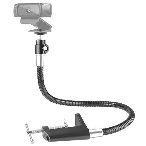 Neewer 25 inches/63.5 centimeters Flexible Jaw Long Arm Swivel Clamp Clip Mount Holder Stand, Gooseneck Mount for Logitech Webcam Brio 4K C925e C922x C922 C930e C930 C920 C615 -