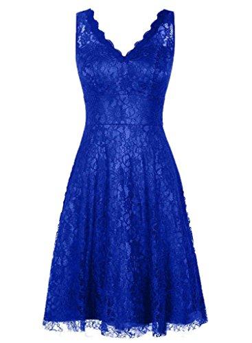 Dentelle Femmes Daadress V-cou Robes Courtes De Demoiselle D'honneur De Bal Robes De Soirée Bleu Royal