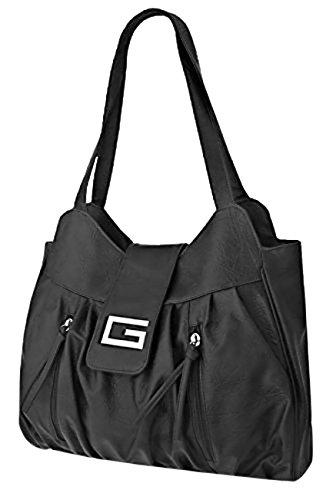 Smart Ladies Faux Leather Designer Style Shoulder Bag Tote Satchel Handbag Empire Black