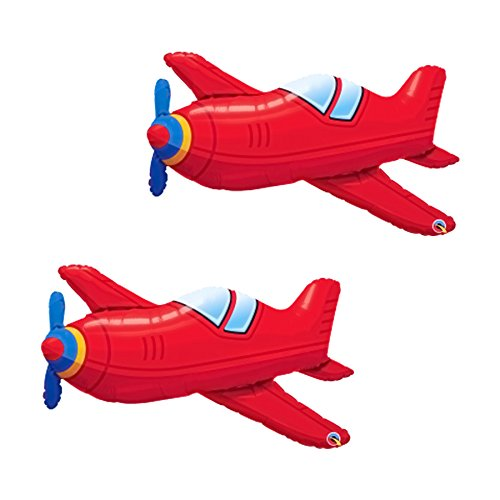 Set of 2 Red Airplane Jumbo 36 Foil Party Balloons Artisan Owl