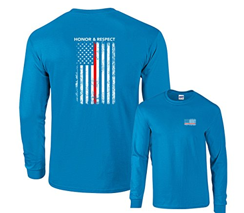 ect US Flag Red Line Firefighter Long Sleeve T-Shirt-Sapphire-Medium (Fighter Sports Long Sleeve)