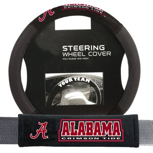 Alabama Crimson Tide NCAA Steering Wheel Cover and Seatbelt Pad Auto Deluxe Kit (2 Pc Set)