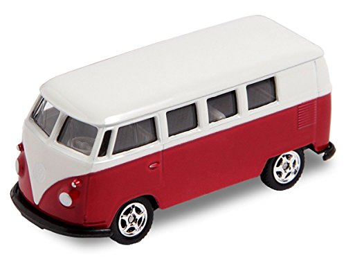 Alsino VW Bus Bulli Modellauto 7,5 cm Modell Volkswagen 1:60 Bully Minibus Oldtimer Welly, Variante wählen:56/0076 VW Bus T1 mini rot