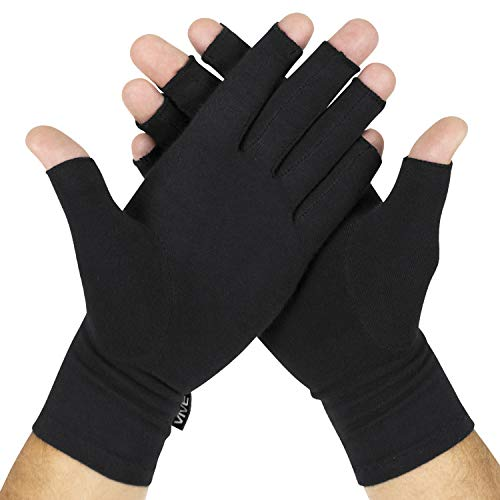 Vive Arthritis Compression Gloves - Men, Women Fingerless Brace for Rheumatoid and Osteoarthritis - Black Hand Wrap for Arthritic Joint Pain Symptom Relief - Open Finger Fit for Computer Typing