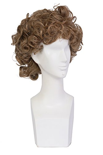 Sandy Grease Wig Xcoser Grease Character Hairs Golden Brown Curly Short for Women