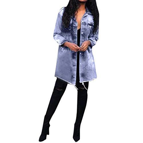 CUCUHAM Women Autumn Winter Denim Upset Jacket Vintage Long Sleeve Loose Jeans Coat (Blue,XXX-Large) -