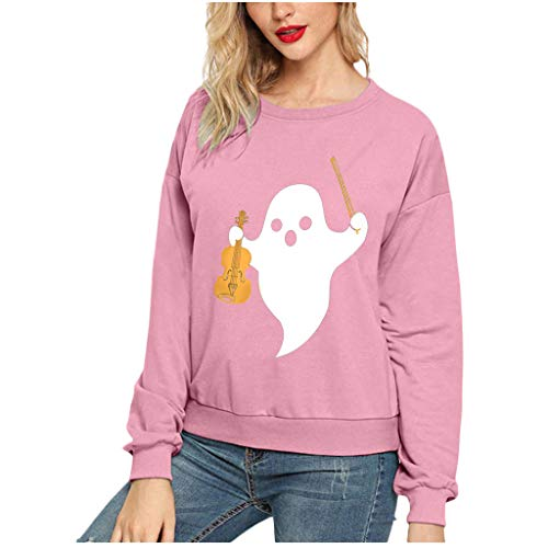 Sunmoot Clearance Sale Cute Halloween Costumes for Teen Girls Specter Graphic Crew Neck Simple Pullover Sweatshirt Tops Pink