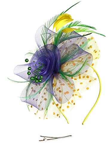 Fascinators Headband Tea Party Hats for Women Royal Wedding Hat Feather Mesh Hair Clip (11-Green and Purple and Yellow)]()