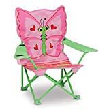 Melissa & Doug Bella Butterfly Child's Outdoor Chair, Easy to Open, Handy Cup Holder, Cleanable...