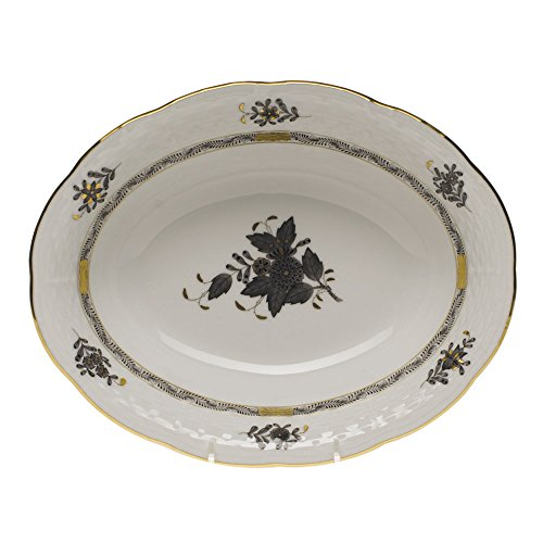 (Herend Chinese Bouquet Black Oval Vegetable Dish )