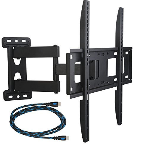 "WALI Full Motion Articulating TV Wall Mount Bracket for  26-55 inch LED, LCD, Flat Screen TVs, VESA up to 400 x 400,15"" extension- Hardware Included (WL-FTM-1), Black"