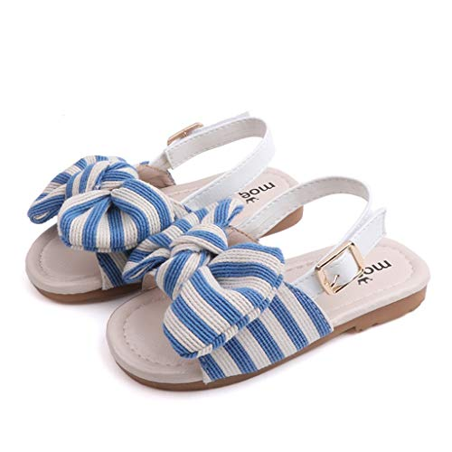 (WENSY Wenysysummer Children Baby Baby Girl Striped Bow Sling with Two Wearing Slippers Sandals Casual Shoes Sandals(Blue,22))