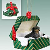 Conversation Concepts Black Dachshund Christmas Ornament Hanging Gift Box