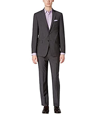 Calvin Klein Men's Extra-Slim Fit Charcoal Shadow Grid Suit