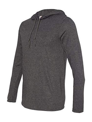 Anvil 987AN Ringspun Long-Sleeve Hooded T-Shirt - Heather Dark Grey/Dark Grey -3XL