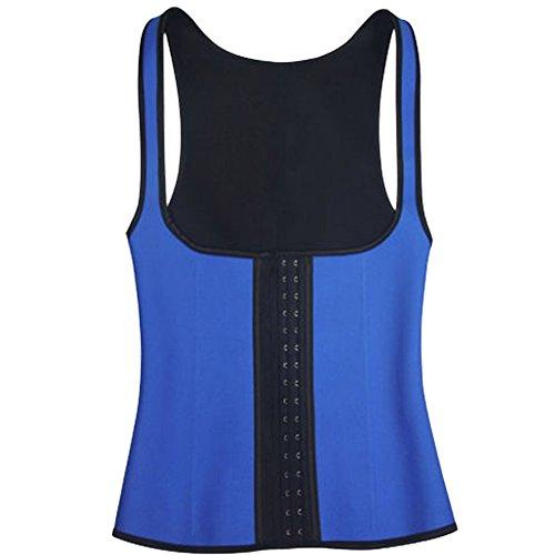 ZAMME mujers Entrenador de la cintura Corsécaucho Reductora cintura con Three Rows of Hooks Azul