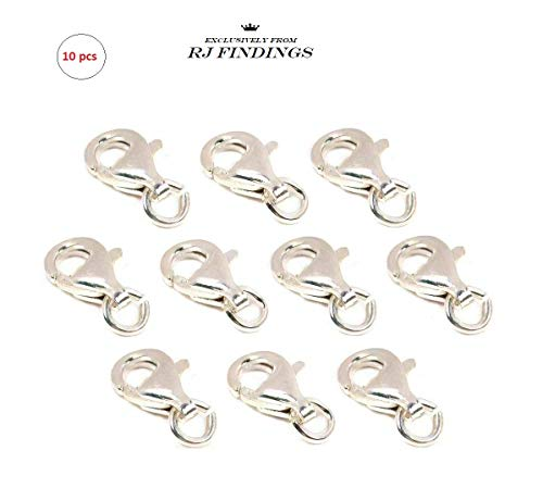 RJ Findings-10pcs Lobster Clasp .925 Sterling Silver Lobster Claw Jewelry Part, 9 x 5