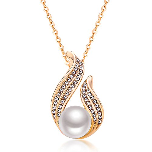 Rose Gold Plated Elegant Pearl Pendant Necklace Love Knot with AAA CZ Necklaces Jewelry for Women Teens