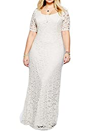 Greenis Women Dress Evening Party Elegant Maxi Lace Long Short Sleeves